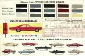 Interior paint color chart - Vintage Oldsmobile Literature 1965 Oldsmobile Color Chart